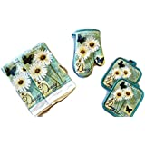 Butterfly And Daisy Linen 5 Piece Bundle Package Oven Mitt (1) Pot Holders (2) Kitchen Towels (2) (#4425)