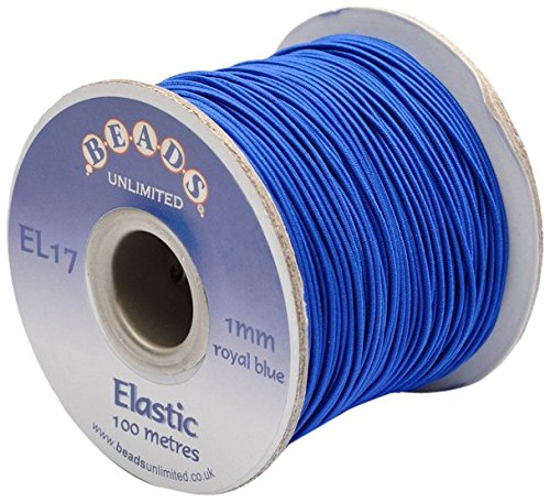 Beads Unlimited 1 mm Coloured Elastic Royal Blue Pack of 100 m