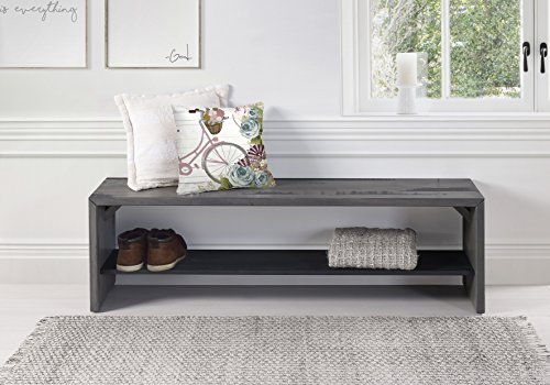 WE Furniture Reclaimed Wood Entry Bench in Gray - 58