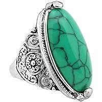 KassarinShop New Vintage Men Women 925 Silver Turquoise Gem Wedding Jewelry Ring Size 7-10 (Green) (7)