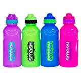 Set of 4 Assorted Colour BPA Free Plastic Water Drink Bottles 350ml School Sport Kids (Assorted)