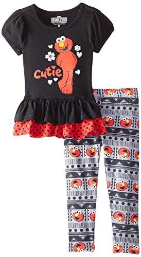 Sesame St Little Girls' 2 Piece Cutie Elmo Legging Set, Black, 4T