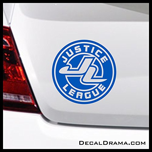 Justice League emblem SMALL Vinyl Decal | DC Comics Justice League Batman Superman Wonder Woman Aquaman Flash Cyborg Green Lantern Martian Manhunter | Cars Trucks Vans Laptops Cups Mugs | Made in USA ()