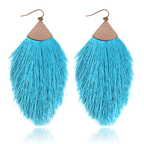 Antique Bohemian Silky Thread Fan Tassel Statement Drop - Vintage Gold Feather Shape Strand Fringe Lightweight Hook/Acetate Dangles Earrings/Long Chain Necklace (Earrings Feather Fringe - Turquoise)