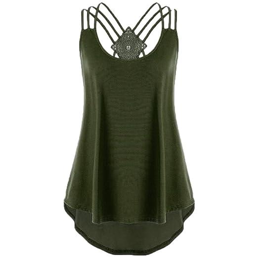 d34e27f50c Womens Sleeveless Blouse High Low Hem Bandage Tank Top Vest Casual T-Shirt  Tops (