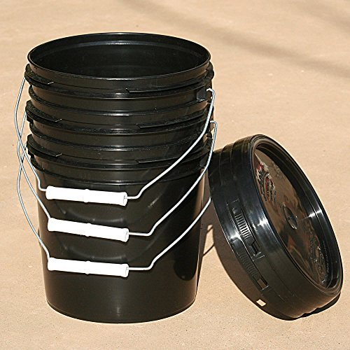 - 3 Pack Black 1 Gallon Buckets with Metal Handles and Lids