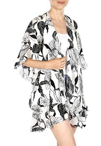 Women Spring Kimono Cover Ups Front Open Summer Cardigan, Leaf White ()