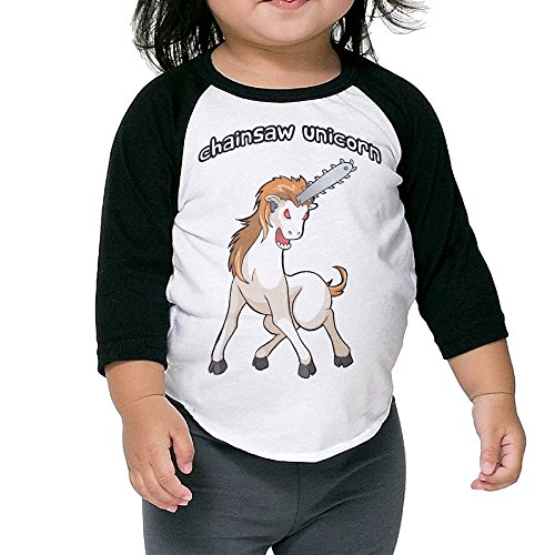 Price comparison product image Autumn Kids Toddler Modest Medusa Chainsaw Unicorn Crew Neck 3 / 4 Sleeves Raglan T Shirts Black US Size 4 Toddler