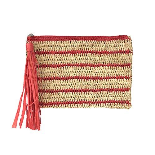 Mar Y Sol Kylie Striped Crochet Raffia Tassel Slim Clutch (Red/Natural)