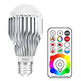 Yangcsl Remote Controlled A19 10W RGBW Color Changing LED Light Bulb, RGB + Daylihgt White, 60W Incandescent Bulb Equivalent, 120 Color Choice, E26 Medium Screw Base