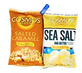 Cosmos Creations Premium Puffed Corn 2 Pack, Gluten Free, Non GMO Snacks, Bonus One HG Grocery Bag Clip (Colors Vary) (Salted Caramel & Sea Salt Butter, 14 & 7 Ounce)