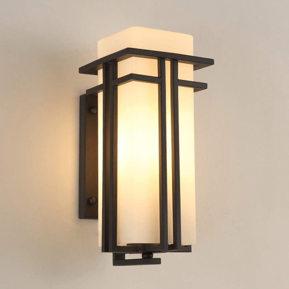 ハンギング アメリカのレトロな屋外の壁防水LED中庭ファサードのバルコニーの通路側の廊下黒暖かい光の壁ランプ21X * 17x39cm 壁灯
