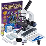 AmScope M150C-SP14-CLS-50P100S-WM 40X-1000X Portable Student Microscope with Extensive Slide Preparation Kit and Book