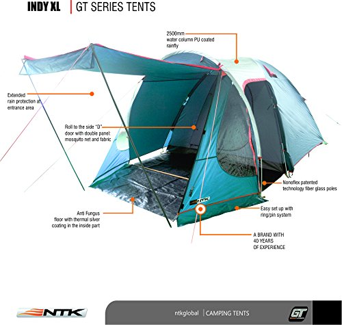 Amazon.com  NTK Indy GT XL sleeps up to 6 person 14.2 by 8.0 FT Outdoor Dome Family C&ing Tent 100% Waterproof 2500mm European Design Easy Assembly ...  sc 1 st  Amazon.com & Amazon.com : NTK Indy GT XL sleeps up to 6 person 14.2 by 8.0 FT ...