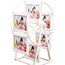 JUSTDOLIFE Tabletop Photo Frame Rotating Ferris Wheel Shaped Picture Frames Photo Display for Gift