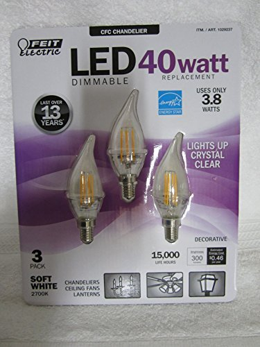 FEIT ELECTRIC 40 WATT REPLACEMENT DIMMABLE LED CFC CHANDELIE