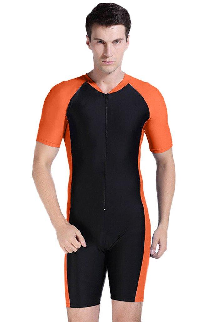 Cokar 水着 半袖 ワンピース型 スイムスーツ B00WZX67N4 Asian L = US M|Orange Black-Man