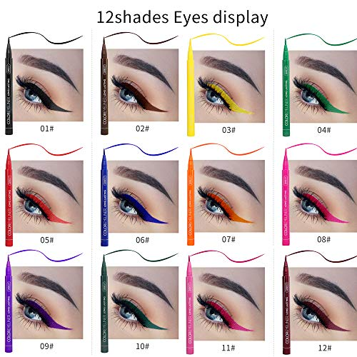 Neon Liquid Eyeliners, QIBEST Matte Bright Colorful Eyeliner Set 12 Colors Waterproof High Pigment Smudgeproof Long Lasting Liquid Eye Liner Pen Set (Gift Set)