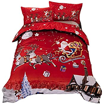 Youareking Merry Christmas 3 Pieces Duvet Covers Set with 2 Shams, Santa Claus Pattern Bedding Cover Set,King