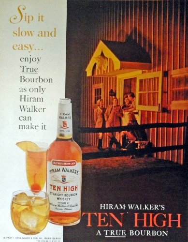 Ten High, Hiram Walker's Whiskey, 60's Full Page Color Illustration, 10 1/2