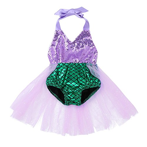 FEESHOW Toddler Baby Girls Mermaid Princess Bikini Swimsuit Halter Romper Tutu Fancy Dress Costumes Green 0-3 Months -