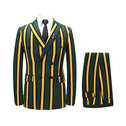 Men's Colored Striped 3 Piece Suit Slim Fit Tuxedo Blazer Jacket Pants Vest Set (Yellow-DB, Large)