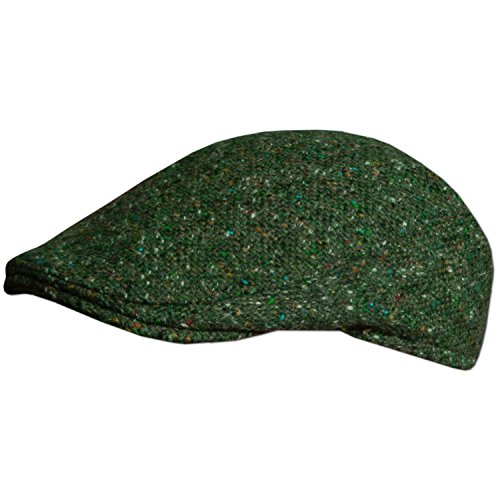 Traditional Irish Tweed Flat Cap, Made In Donegal Ireland, Green, - In Men Tweed
