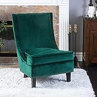 Geneva Velvet Dark Green Single Sofa Accent Chair
