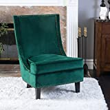 Christopher Knight Home 296306 Brayden Mid-Century Velvet Accent Chair, Dark Green For Sale