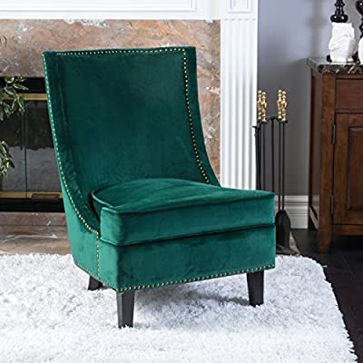 Christopher Knight Home Brayden Mid-Century Velvet Accent Chair, Dark Green - The Carole velvet single sofa accent chair is stylish and elegant enough to use in the most upscale room. Upholstered in fun and vibrant velvet colors this chair is sure to make a statement. Dimensions: 37.25 inches high x 30.25 inches wide x 26.25 inches deep Seat dimensions: 19.25 inches high x 26.50 inches wide x 21.75 inches deep.  Weight: 33-pounds. - living-room-furniture, living-room, accent-chairs - 51jYxTllyLL. SS400  -