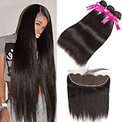 Pizazz 8A Brazilian Straight Hair Lace Frontal Closure with Bundles Natural Black Straight Human Hair Weave 3 Bundles with Closure (20 22 24+18))