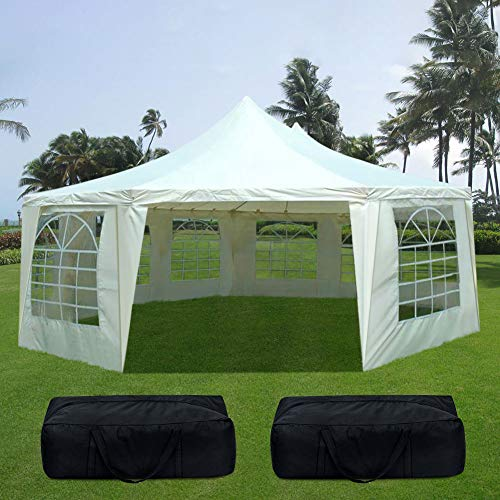 Quictent 16' x 22' Heavy Duty Outdoor Octagon Gazebo Party Tent Wedding Canopy with 3 Carry Bags(16x22, Beige)