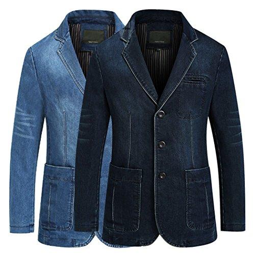 62968ceb2efd Modern Fantasy Men s Jean Jacket Classic Notched Collar 3 Button Denim Blazer  Suit