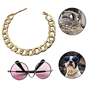 """Coolrunner Funny Pet Sunglasses and Cool Plated Gold Chain Necklace (15"""" x0.78"""") with Adjustable Length for Cats/Small Dogs Fashion Costume-Taking Pictures"""
