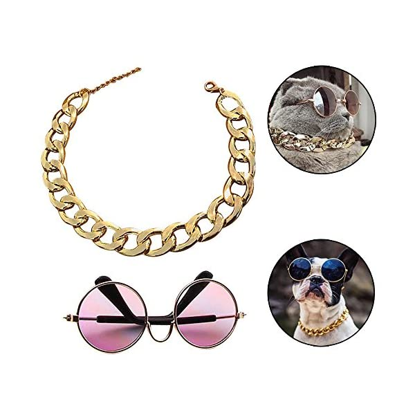 Coolrunner Funny Pet Sunglasses and Cool Plated Gold Chain Necklace (15″ x0.39″) with Adjustable Length for Cats/Small Dogs Fashion Costume-Taking Pictures (8 cm Sunglasses)