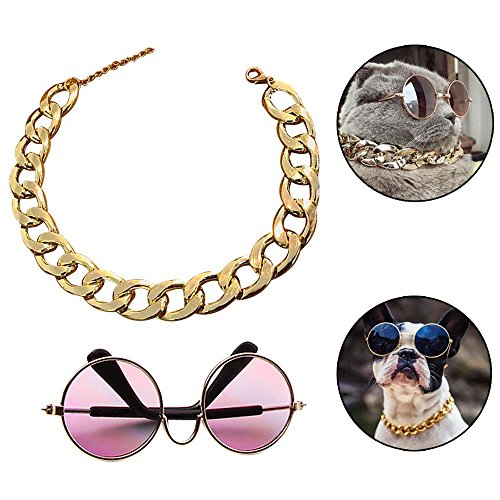 "Coolrunner Funny Pet Sunglasses and Cool Plated Gold Chain Necklace (15"" x0.78"") with Adjustable Length for Cats/Small Dogs Fashion Costume-Taking - On Put Picture Sunglasses"