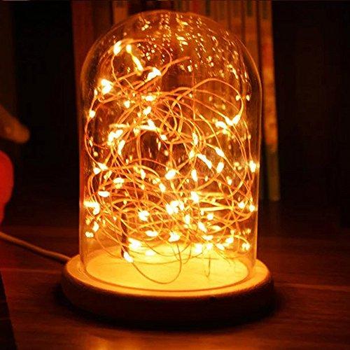 Kanzd LED Fire Tree Silver Flower Romantic Glass Cover Bedroom Desk Night Light Lamp (B)