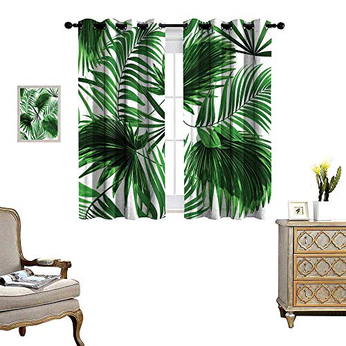 Palm Leaf Thermal Insulating Blackout Curtain Realistic Vivid Leaves of Palm Tree Growth Ecology Lush Botany Themed Print Patterned Drape for Glass Door Fern Green White ()