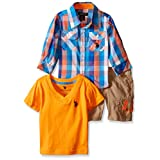 U.S. Polo Assn. Baby Boys' 3 Piece Sport Shirt, V-Neck T-Shirt and Twill Cargo Short, Multi Plaid, 18M