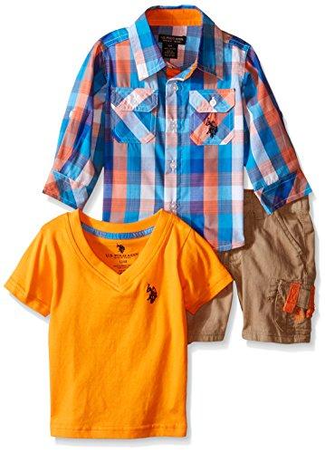 U.S. Polo Assn. Baby Boys' 3 Piece Sport, V-Neck T-Shirt and Twill Cargo Short, Multi Plaid, 12M