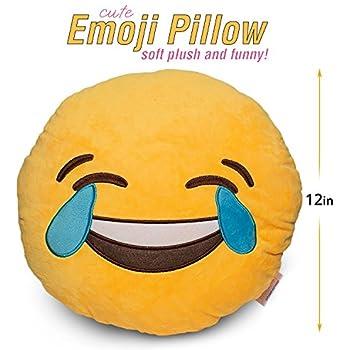 Delicate LAUGH TO TEAR Emoji Pillow Smiley Emoticon Yellow Round Mesmerizing Monkey Covering Eyes Emoji Pillow