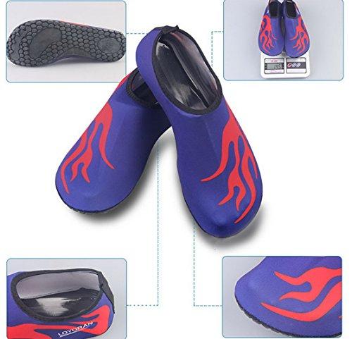Panegy Para Mujer De Malla Transpirable Al Aire Libre De Suela Blanda Antideslizante Pie Vadeando Zapatos De Piel De Agua Azul Con Fuego