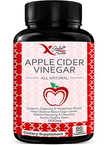 Apple Cider Vinegar Pills -1300mg per Serving - All Natural, Extra Strength, Powerful Detox & Cleanser, Improve Digestion, Immune Health & Heart Health, Helps Balance Blood Sugar - 60 Veggie Capsules