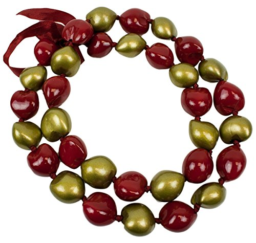 Barbra Collection Hawaiian Style Kukui Nut Lei Hand Painted Gold and Red 32 Nuts (Gold Kukui Lei Necklace)