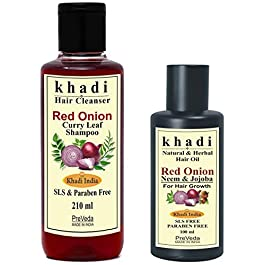 PreVeda® Khadi Onion & Curry Leaf Shampoo 210 ml + Onion Neem & Jojoba Oil 100 ml Natural Best hair care Combo