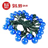 MAXINDA (Heavy Duty) G40 Globe Outdoor String Lights Blue,17 Ft 25 LED Garden Patio Bar Wedding Party Christmas Lights Mood Lighting for Indoor Outdoor Use,2 Fuses Include