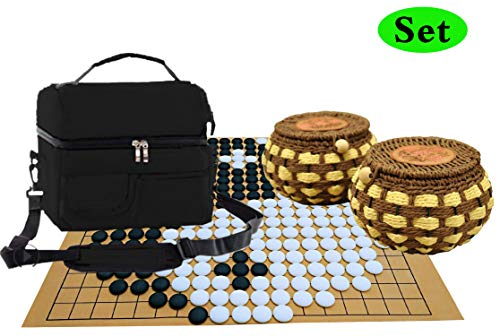 Go Board Game Set Yunzi Stones Top Strategy Game of Go Set 19x19 Board Games | Go Bolws | Nylon Bag-Convenient 2 Players Travel Games
