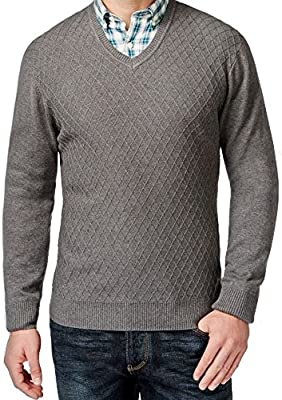 Club Room Mens Diamond Knit V,Neck Pullover Sweater charcoal
