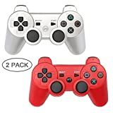 PS3 Controller 2 Pack Wireless Bluetooth 6-Axis Gamepad Controllers for PlayStation 3 Dualshock 3 (Silver+Red)