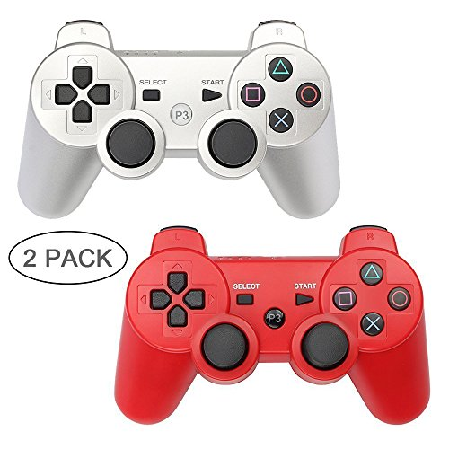 PS3 Controller 2 Pack Wireless Bluetooth 6-Axis Gamepad Controllers for PlayStation 3 Dualshock 3 (Silver+Red) by YOUCable
